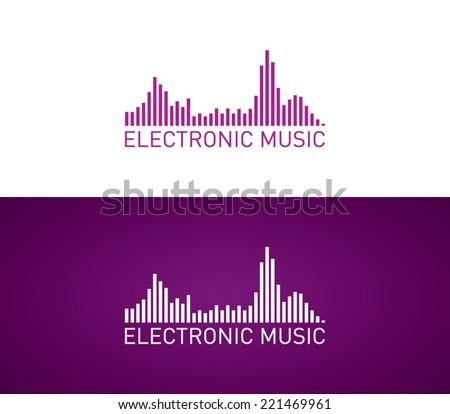 Stock Photo Logo template electronic music, equalizer, dj, nightclub, disco, techno, chill out, brand, branding, corporate, identity, logotype, company. Clean and modern style design
