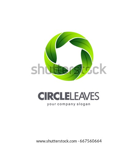 Logo template for organic and natural products. Circle leaves