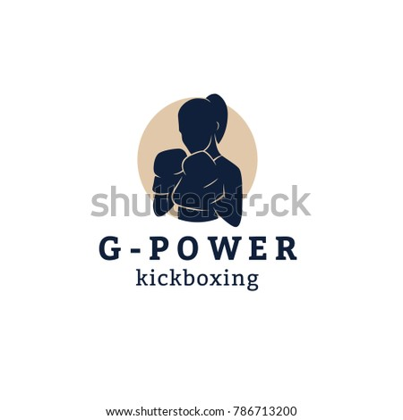 logo template girl woman boxing