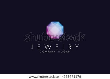Logo template jewelry, jewellery fashion, luxury, stylish, crystal, brand, branding, company, corporate, identity, logotype. Clean, modern and elegant style design
