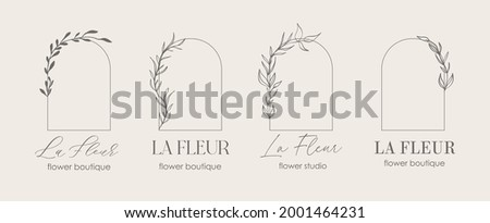 Logo template, monogram concept in trendy linear style with arch - floral frame. Emblem for fashion, beauty and jewellery, Wedding invitation, socia. La Fleur - flower in french. Zdjęcia stock ©