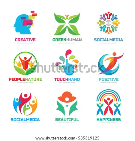 Logo template vector set collection - creative illustrations. Human character, social media people, hand touch, flower and green leaves, creative brain, positive concept sign.