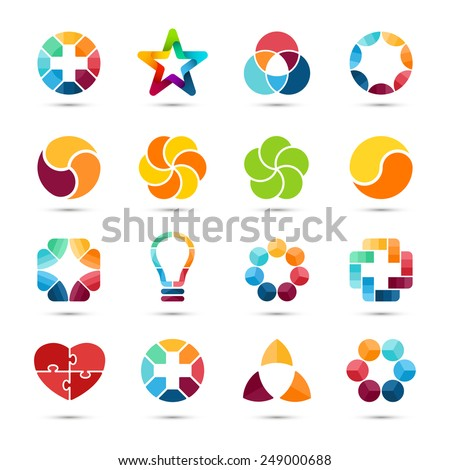 Logo templates set. Abstract circle creative signs and symbols. Circles, plus signs, heart, star, triangle, hexagons and other design elements.