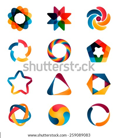Logo templates set. Abstract circle creative signs and symbols. Circles, star, pentagon, hexagon and other design elements.