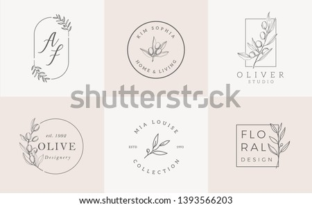 Logo templates set. Elegant logo design with leaves, branch and wreath - Vector
