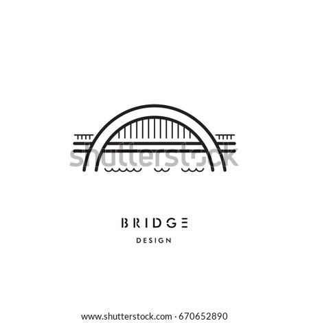 Logo vector arched bridge isolated on white background