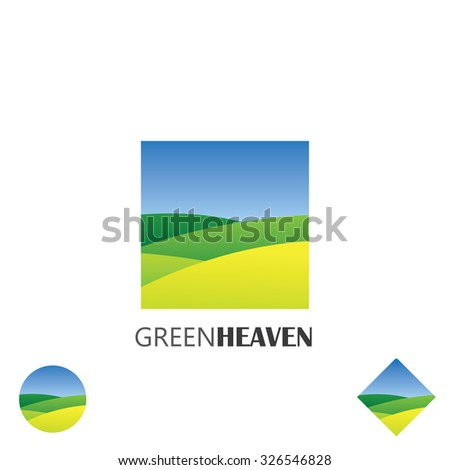 logo vector icon of green farm