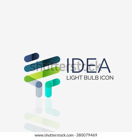 Logo, vector light bulb abstract linear geometric business icon. Idea concept
