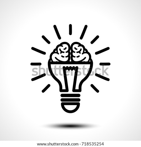 Logo with a half of light bulb and brain isolated on white background. Symbol of creativity, creative idea, mind, thinking. Vector illustration.