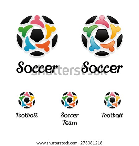 Logo with a soccer ball and united people icons like a star