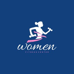 Logo with a woman icon who is exercising. Logo about women's fitness.