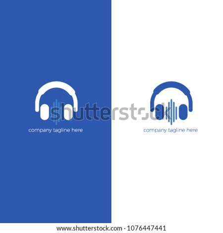 Logo with headphones. Love for music in headphone. Radio online vector flat logotype