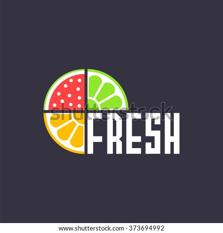 logo with pieces of fruits and