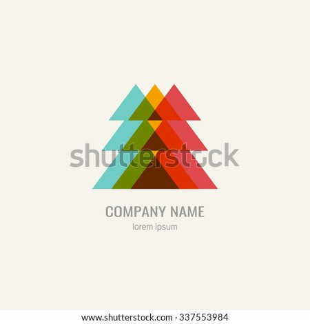Logo with pine, christmas tree in retro style.