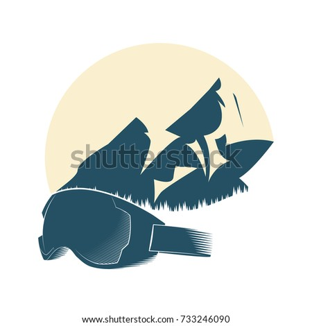 Logo with the mountain and the mask for winter sports. Extreme sports. Vector illustration.