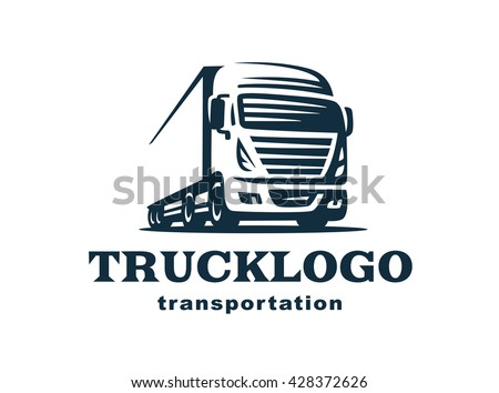 logo with truck on white background, monochrome style