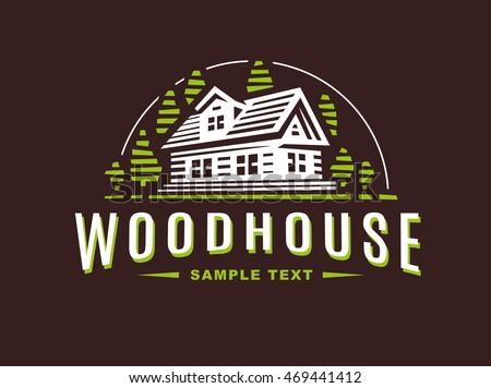 logo wooden house on dark...