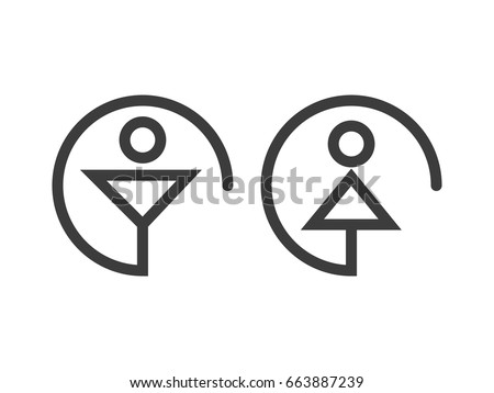 Logos, icons, male and female toilet. illustration of male and female icon
