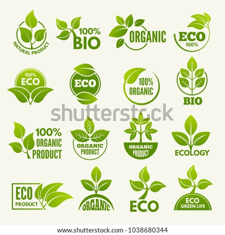 Logos of eco style. Business concepts to protect nature. Eco and green organic label. Vector illustration