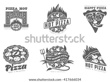 logos pizza  fast food  vector