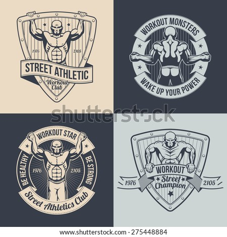Logos street workout athletic club. Posters with a muscular man. Pullups a man on the logo. Gym logos in retro style. Text can be replaced.
