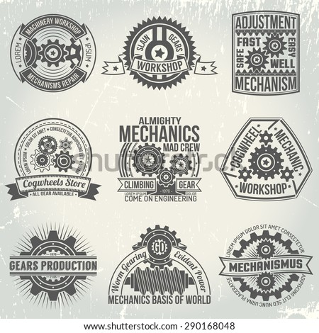 logos with gears and mechanisms