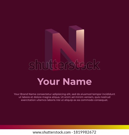Logotype. Alphabet 3D Logo Letter N. Monogram Logo for your brand and Company Foto stock ©