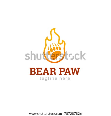 Logotype bear paw, logo vector for shop, store, logistic, delivery