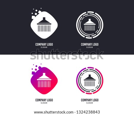 Logotype concept. Shower sign icon. Douche with water drops symbol. Logo design. Colorful buttons with icons. Vector