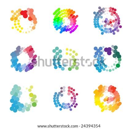 Logotype design dots elements set