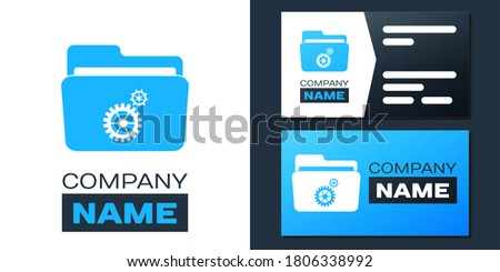 Logotype Folder settings with gears icon isolated on white background. Concept of software update, transfer protocol, router, teamwork tool management. Logo design template element. Vector. ストックフォト ©