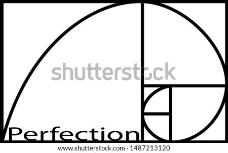 Logotype gold spiral. Fibonacci sequence