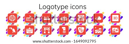 logotype icon set. 14 filled logotype icons. Included Stained glass, Vulture, Keyboard, Pier, Arch, Octopus, d, Emblem, Soundcloud, Field icons