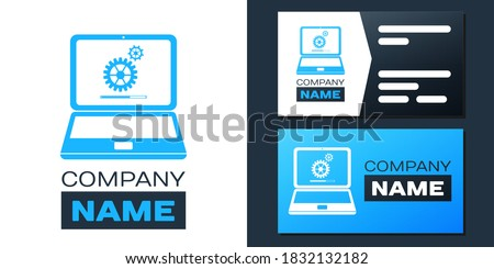 Logotype Laptop and gears icon isolated on white background. Adjusting app, service, setting options, maintenance, repair, fixing laptop concepts. Logo design template element. Vector. ストックフォト ©