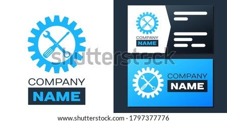 Logotype Maintenance symbol - screwdriver and spanner inside cogwheel icon isolated on white background. Service tool symbol. Setting icon. Logo design template element. Vector. ストックフォト ©