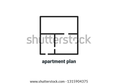 Logotype of apartment planning. Icon for sale and rent of real estate, apartments. Vector Illustration