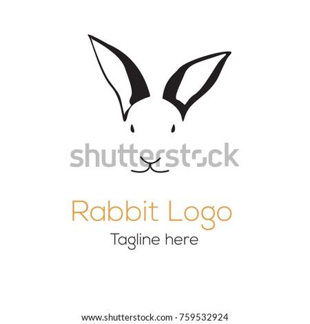 logotype rabbit head mascot character template cartoon for feed