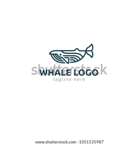 Logotype whale, logo vector for logistic, delivery, freedom, consulting, boat