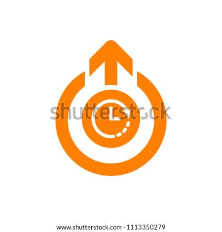 Logout icon, signs icon with clock sign. Logout icon and countdown, deadline, schedule, planning symbol. Vector illustration