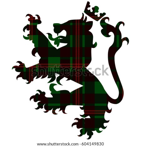 Loin with crown on tartan background. Symbol of Scotland. Vector illustration/