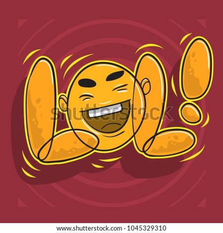 Lol Lots Of Laughs With Laughing Face. Vector Graphic.