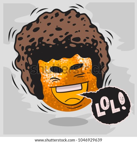 Lol Lots Of Laughs With Laughing Orange With Afro Hairstyle  Funny Fruits. Vector Graphic.