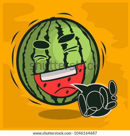 Lol Lots Of Laughs With Laughing Watermelon Funny Fruits. Vector Graphic.