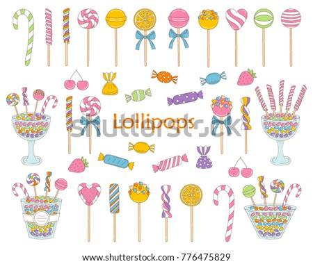 Lollipop set vector hand drawn doodle illustration.  Different types of colorful sweets, candies, lollipops, sweetmeats, glass candy jars,  isolated on white background.