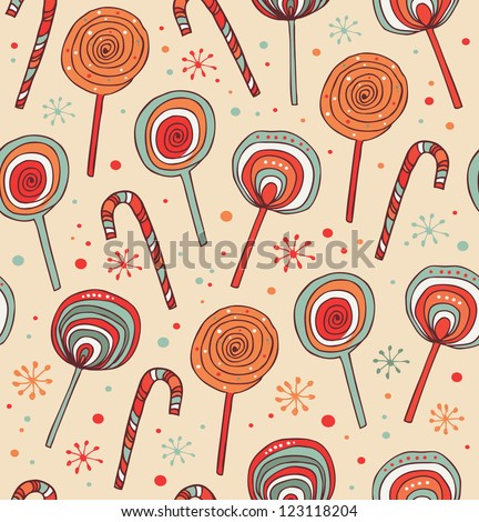 Lollipops background. Sugarplums.Different fruit drops. Sugar candies. Sweet seamless pattern