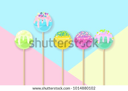 lollipops on pastel background