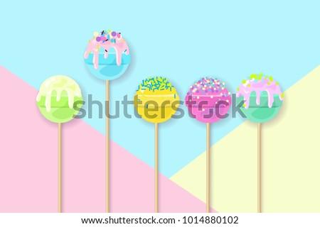 lollipops on pastel background