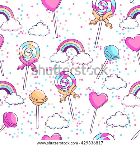 lollipops  rainbow  clouds and