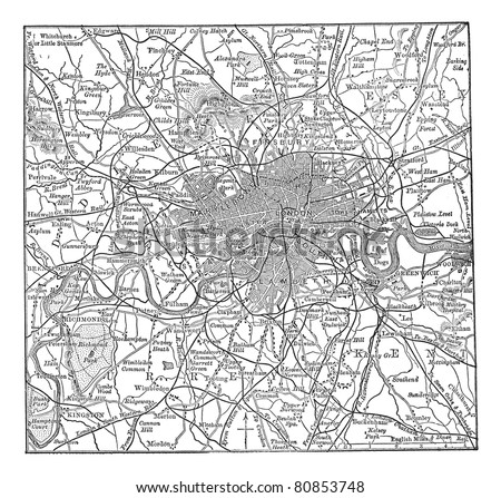 London and its environs, during the 1890s, vintage engraving.  Old engraved illustration of London  map with its environs. Trousset encyclopedia (1886 - 1891).