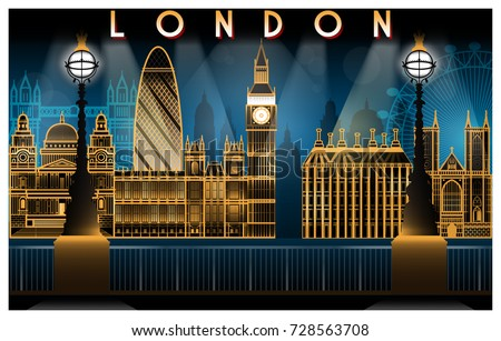London attractions at night. Handmade drawing vector illustration. Art deco style.
